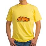 Cat Contemplation Yellow T-Shirt