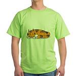 Cat Contemplation Green T-Shirt