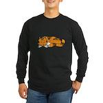 Cat Contemplation Long Sleeve Dark T-Shirt