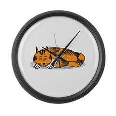 Cat Contemplation Large Wall Clock