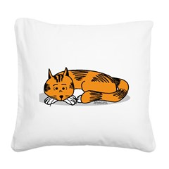 Cat Contemplation Square Canvas Pillow