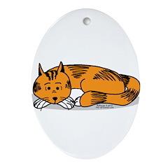 Cat Contemplation Oval Ornament