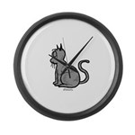 Cat Bored Large Wall Clock