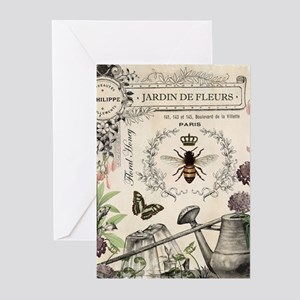 Modern Vintage French Bee Garden Greeting Cards