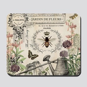 Modern Vintage French Bee Garden Mousepad