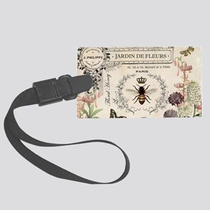 Modern Vintage French Bee Garden Luggage Tag