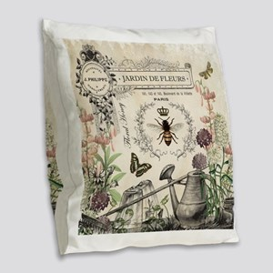Modern Vintage French Bee Garden Burlap Throw Pill