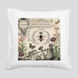 Modern Vintage French Bee Garden Square Canvas Pil