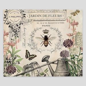 Modern Vintage French Bee Garden King Duvet