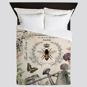 Modern Vintage French Bee Garden Queen Duvet