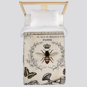 Modern Vintage French Bee Garden Twin Duvet Cover