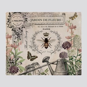 Modern Vintage French Bee Garden Throw Blanket