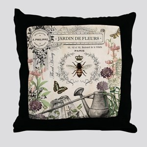Modern Vintage French Bee Garden Throw Pillow