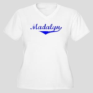 Madalyn Vintage (Blue) Women's Plus Size V-Neck T-