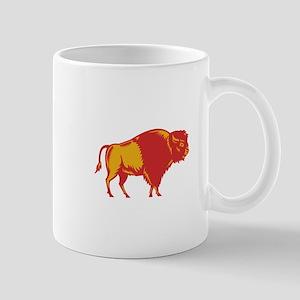 American Bison Side Woodcut Mugs