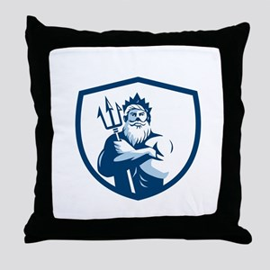 Triton Trident Arms Crossed Crest Retro Throw Pill
