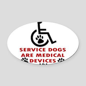 SERVICE DOG DEVICE Oval Car Magnet