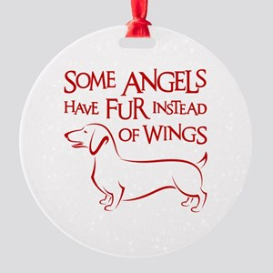 DOXIE ANGEL Round Ornament