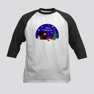 Red Tractor Christmas Kids Baseball Jersey