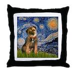Starry Night / Border Terrier Throw Pillow