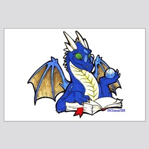 Blue Bookdragon Large Poster