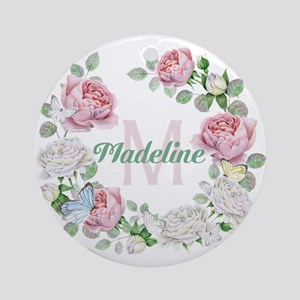 Rose Butterfly Floral Monogram Round Ornament