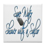 Shower with a Sailor Tile Coaster
