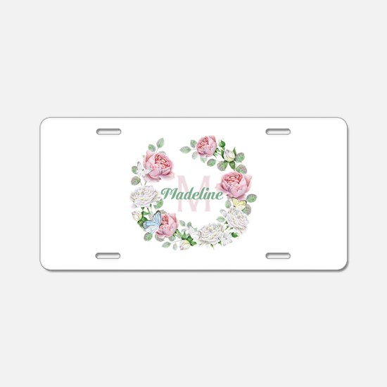 Rose Butterfly Floral Monogram Aluminum License Pl