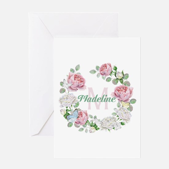 Rose Butterfly Floral Monogram Greeting Cards
