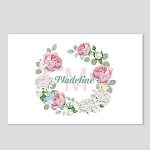 Rose Butterfly Floral Monogram Postcards (Package