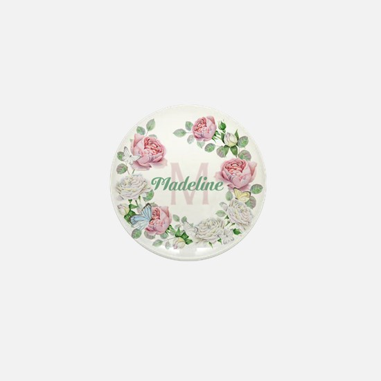 Rose Butterfly Floral Monogram Mini Button (10 pac