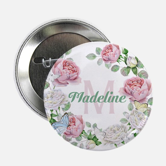 "Rose Butterfly Floral Monogram 2.25"" Button (10 pa"