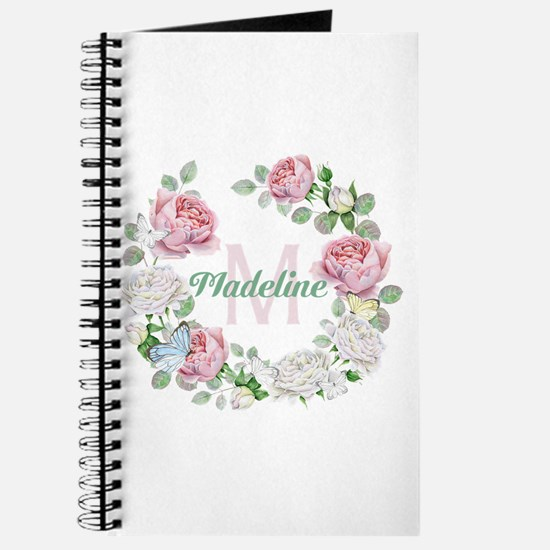 Rose Butterfly Floral Monogram Journal