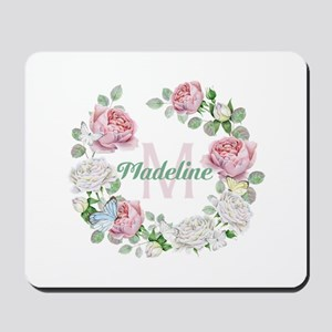 Rose Butterfly Floral Monogram Mousepad