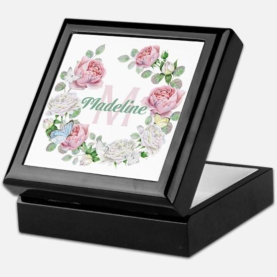 Rose Butterfly Floral Monogram Keepsake Box