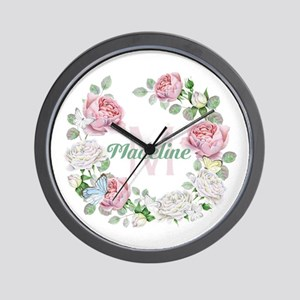 Rose Butterfly Floral Monogram Wall Clock