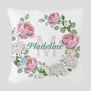 Rose Butterfly Floral Monogram Woven Throw Pillow