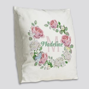 Rose Butterfly Floral Monogram Burlap Throw Pillow