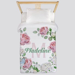 Rose Butterfly Floral Monogram Twin Duvet Cover