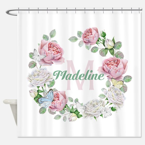 Rose Butterfly Floral Monogram Shower Curtain