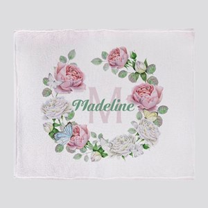 Rose Butterfly Floral Monogram Throw Blanket