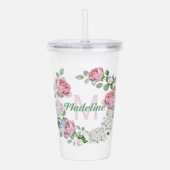 Rose Butterfly Floral Monogram Acrylic Double-wall