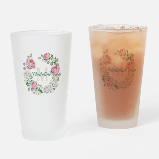 Rose Butterfly Floral Monogram Drinking Glass