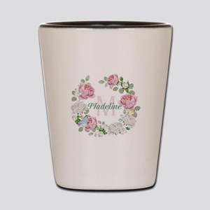 Rose Butterfly Floral Monogram Shot Glass
