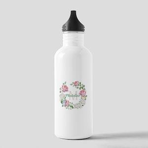 Rose Butterfly Floral Monogram Water Bottle