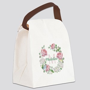Rose Butterfly Floral Monogram Canvas Lunch Bag