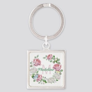 Rose Butterfly Floral Monogram Keychains