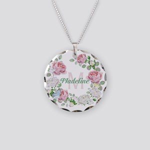 Rose Butterfly Floral Monogram Necklace