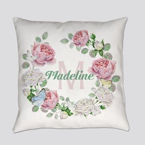 Rose Butterfly Floral Monogram Everyday Pillow