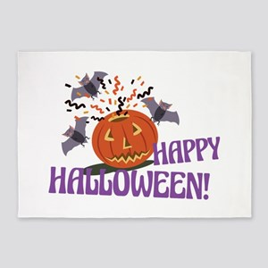 Happy Halloween Motif 5'x7'Area Rug